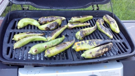 Hatch Chiles (roasting on grill)
