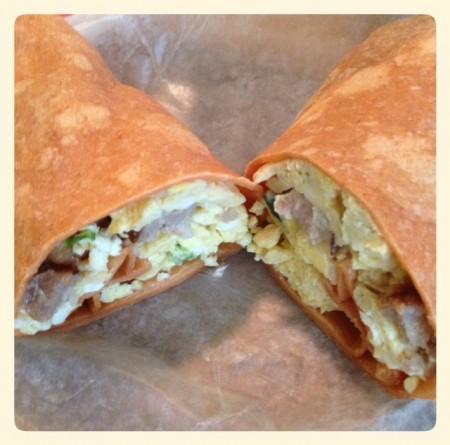 breakfast burrito cut open