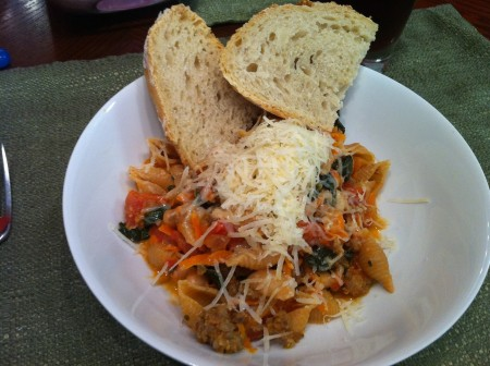 Sausage, Kale and White Bean Pasta
