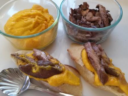 Carrot butter with Shiitake mushroom escargot